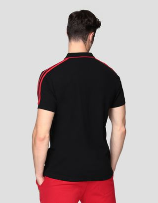 Scuderia Ferrari Online Store - Men's stretch cotton polo shirt with contrasting inserts - Short Sleeve Polos