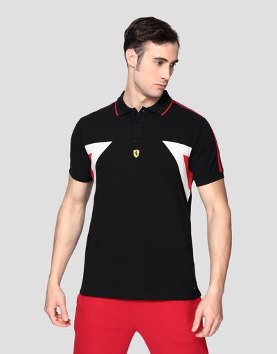 Men's polo shirt in stretch cotton with contrasting inserts