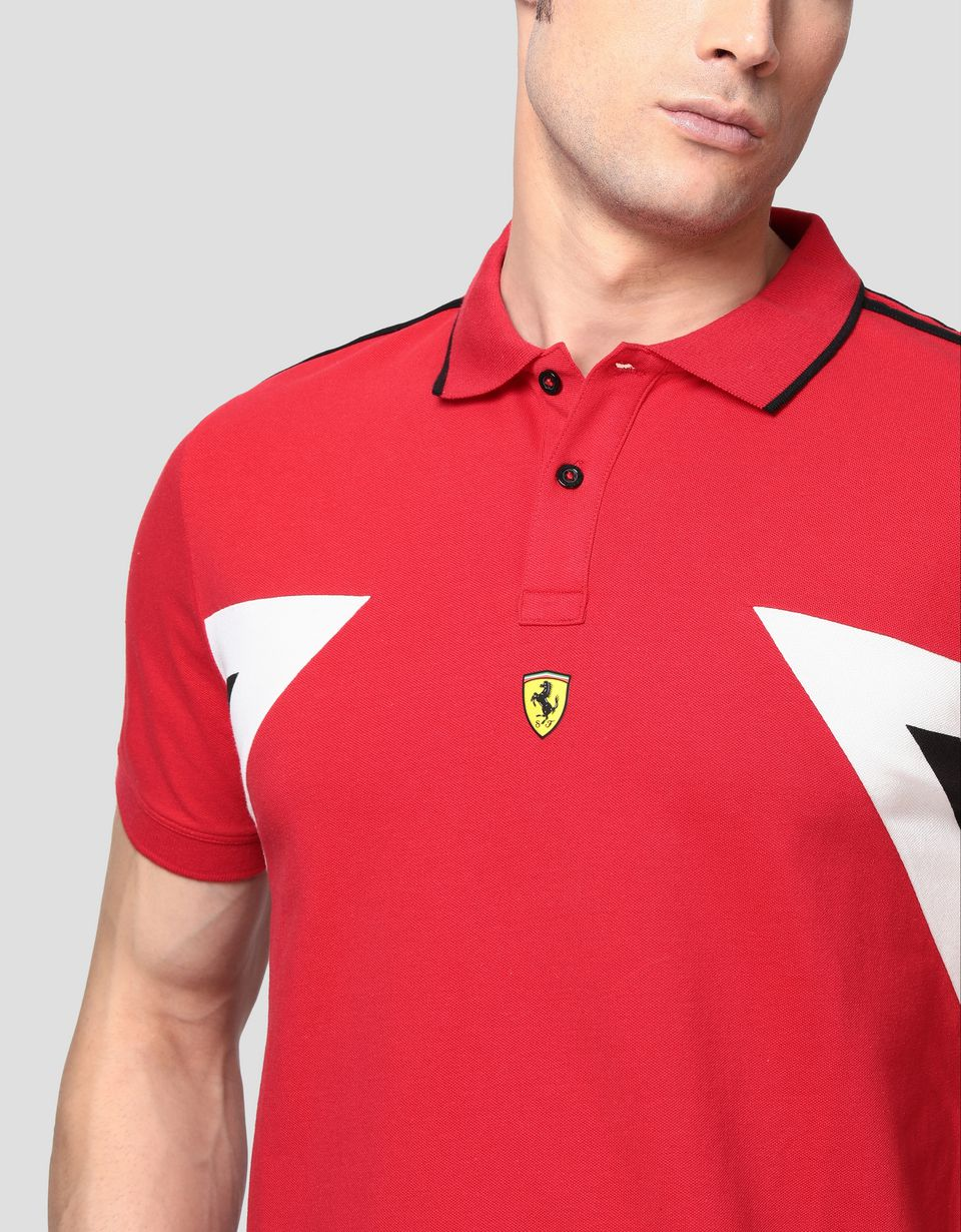 Scuderia Ferrari Online Store - Men's polo shirt in stretch cotton with contrasting inserts - Short Sleeve Polos