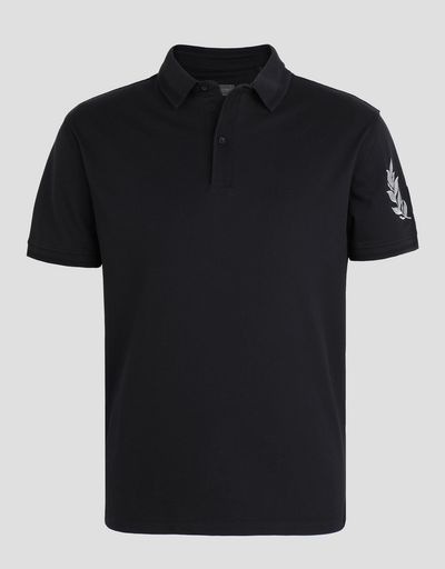 Scuderia Ferrari Online Store - Piqué polo shirt with silver laurel embroidery -