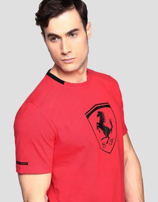 Scuderia Ferrari Online Store - Men's cotton T-shirt with Ferrari Shield - Short Sleeve T-Shirts