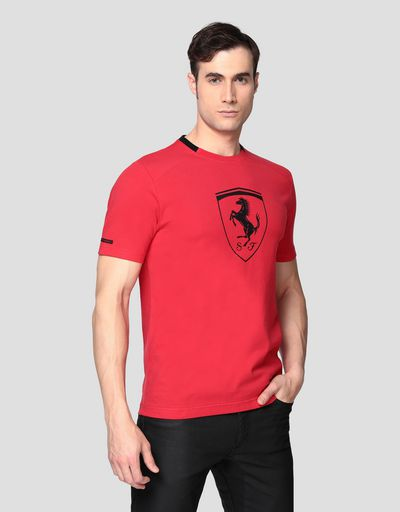 Men's cotton T-shirt with Ferrari Shield