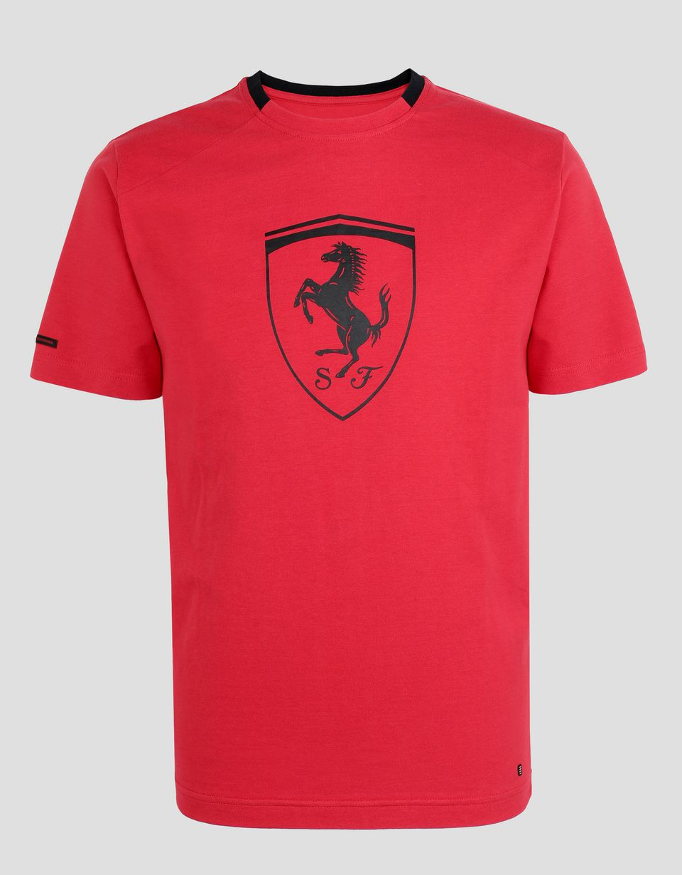 Scuderia Ferrari Online Store - Men's cotton T-shirt with Ferrari Shield - Short Sleeve T-Shirts