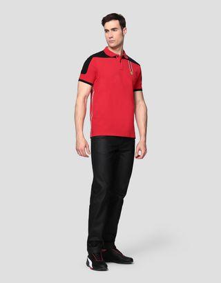 Scuderia Ferrari Online Store - Мужская поло из хлопкового пике с тесьмой Icon Tape - Поло с короткими рукавами