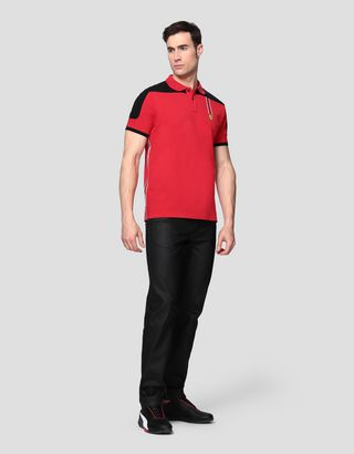 Scuderia Ferrari Online Store - Men's cotton piquet polo shirt with Icon Tape - Short Sleeve Polos