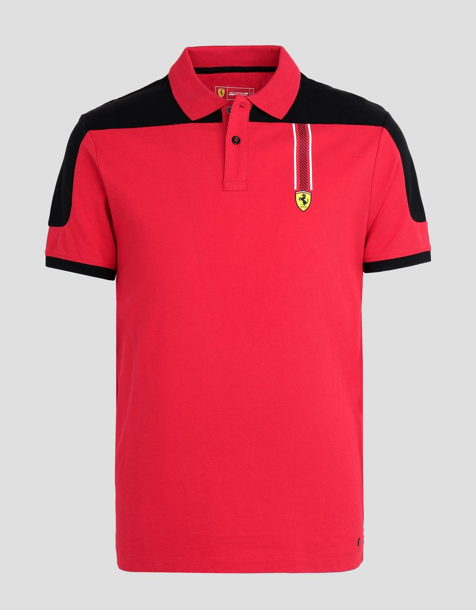 Scuderia Ferrari Online Store - Men's cotton piqué polo shirt with Icon Tape - Short Sleeve Polos