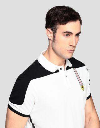 Scuderia Ferrari Online Store - Men's cotton piqué polo shirt with Icon Tape - Short Sleeve Polos