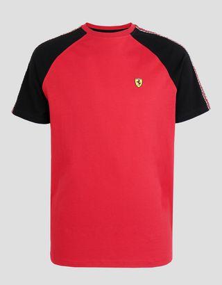 Scuderia Ferrari Online Store - T-shirt pour homme en coton avec Icon Tape - T-shirts à manches courtes