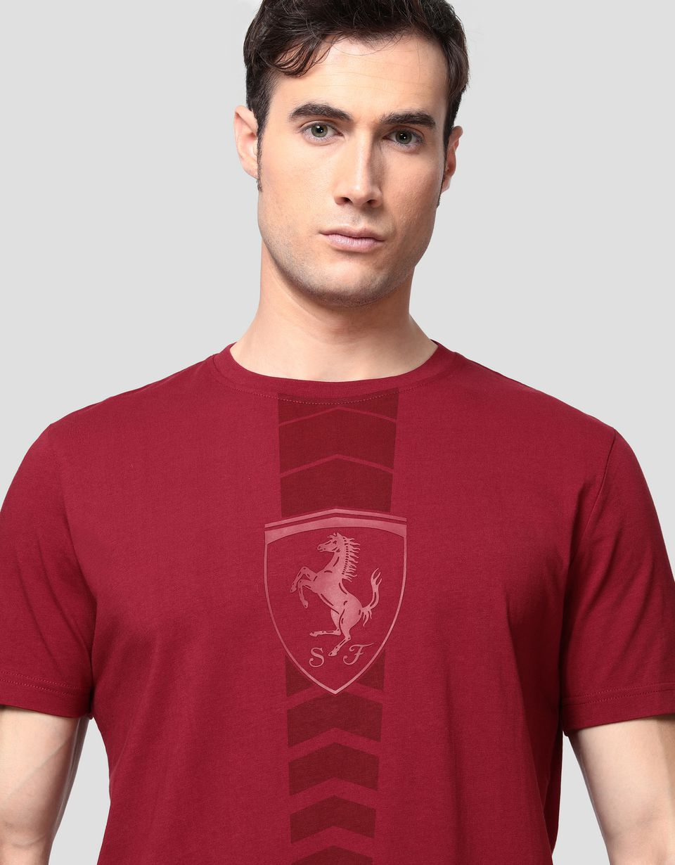 Scuderia Ferrari Online Store - Men's cotton T-shirt with rubberised print - Short Sleeve T-Shirts