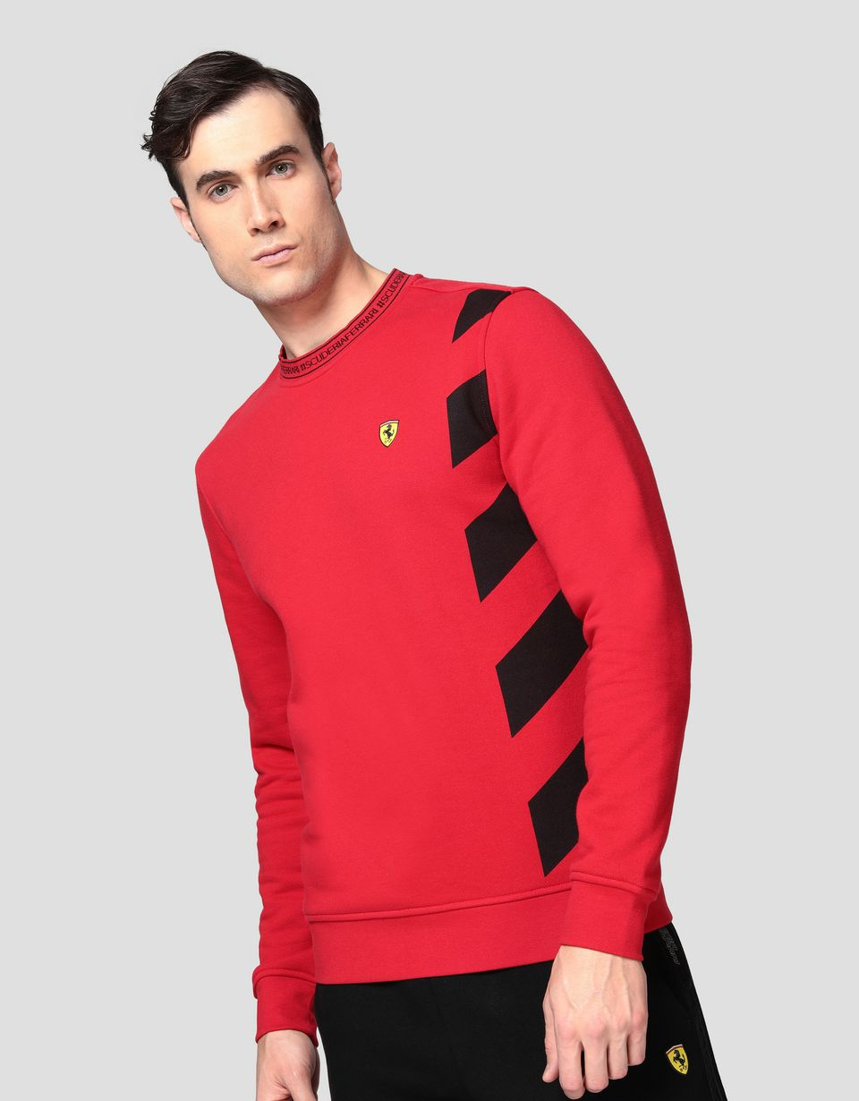 Scuderia Ferrari Online Store - Men's sweatshirt with contrasting pattern - Crew Neck Jumpers