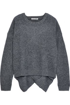 AUTUMN CASHMERE Basketweave ribbed-knit sweater