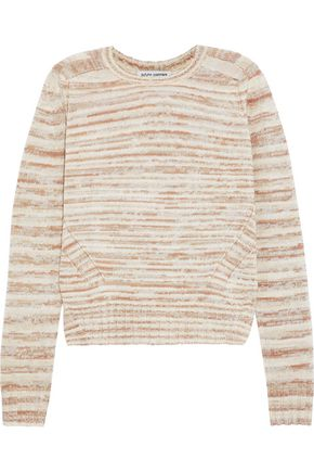 AUTUMN CASHMERE Pointelle-trimmed marled cashmere sweater