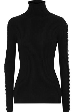 Cutout Ring Embellished Ribbed Merino Wool Blend Turtleneck Sweater by Autumn Cashmere
