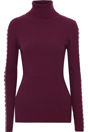 AUTUMN CASHMERE Cutout ring-embellished ribbed merino wool-blend turtleneck sweater