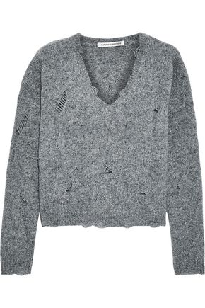 AUTUMN CASHMERE Distressed mélange cashmere sweater