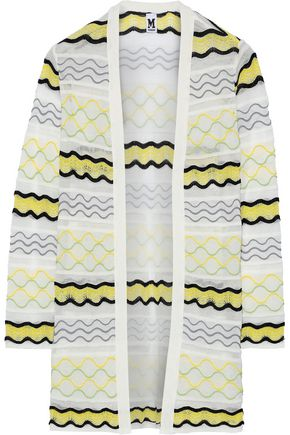 M MISSONI Embroidered crochet-knit cotton-blend cardigan