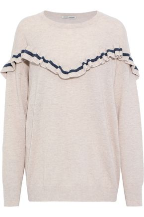 AUTUMN CASHMERE Striped ruffle-trimmed cashmere sweater