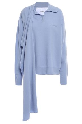 PUSHBUTTON Draped wool and cashmere-blend sweater