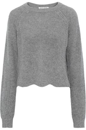 AUTUMN CASHMERE Cropped scalloped ribbed cashmere sweater