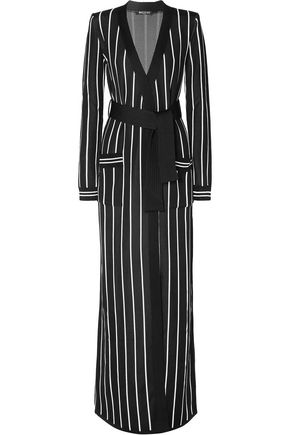 BALMAIN Belted striped stretch-knit cardigan