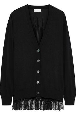 CLU Lace-trimmed plissé satin-paneled cotton and cashmere-blend cardigan