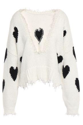WILDFOX Frayed intarsia cotton sweater