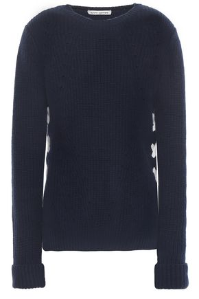 AUTUMN CASHMERE Lace-up ribbed cashmere sweater