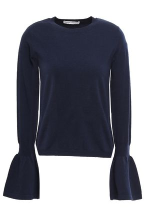 AUTUMN CASHMERE Fluted merino wool-blend sweater