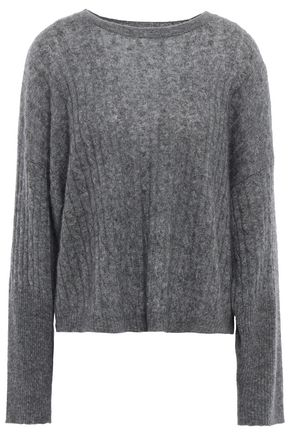 AUTUMN CASHMERE Mélange cable-knit cashmere and silk-blend sweater