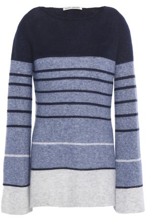 AUTUMN CASHMERE Striped cashmere and silk-blend sweater