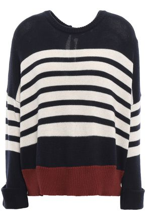 AUTUMN CASHMERE Tie-back striped cashmere sweater