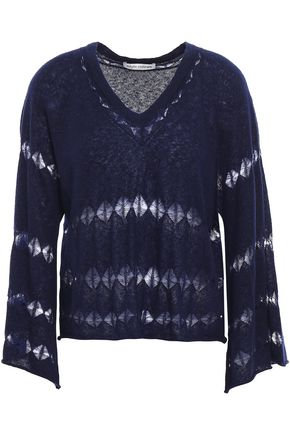 AUTUMN CASHMERE Open knit-trimmed cashmere and silk-blend sweater