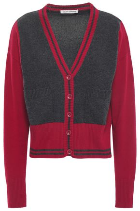 AUTUMN CASHMERE Two-tone cashmere cardigan