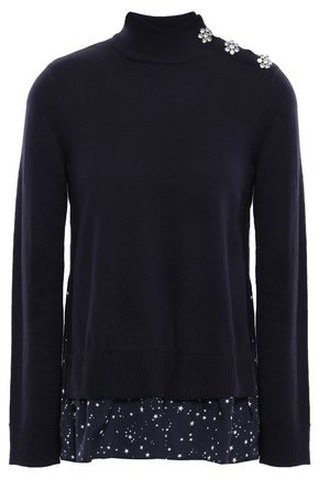 KATE SPADE New York Embellished knitted and printed crepe de chine sweater
