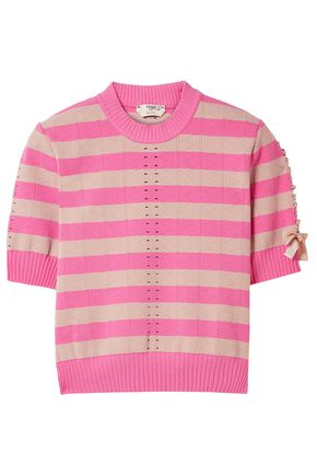 FENDI Lace-up striped pointelle-knit top