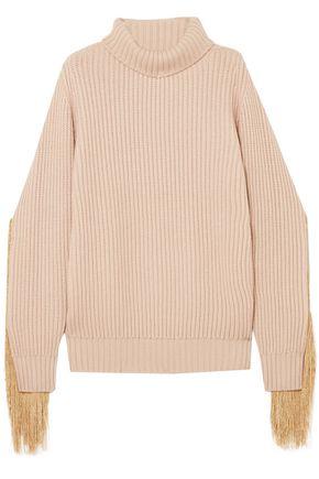 HILLIER BARTLEY Fringed ribbed cashmere turtleneck sweater