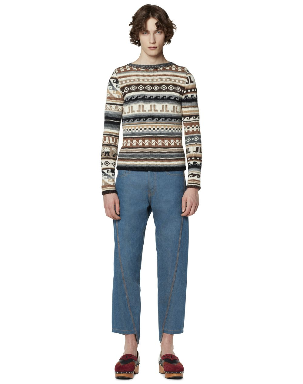 WOOL SWEATER WITH JACQUARD MOTIFS - Lanvin