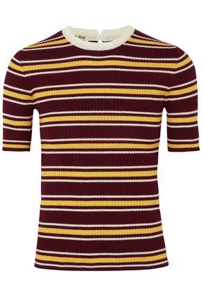 MIU MIU Striped ribbed wool top
