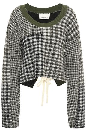 3.1 PHILLIP LIM Lace-up patchwork-effect jacquard-knit sweater