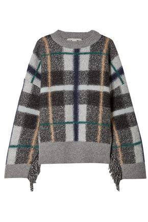 STELLA McCARTNEY Fringe-trimmed checked wool-blend sweater