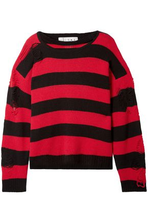 TRE by NATALIE RATABESI Love distressed striped cashmere sweater