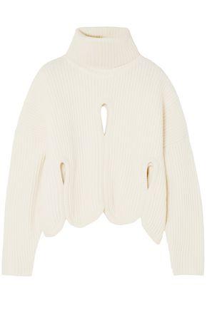 ANTONIO BERARDI Cutout wool and cashmere-blend turtleneck sweater