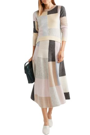 Adam Lippes Sweaters ADAM LIPPES WOMAN COLOR-BLOCK CASHMERE AND SILK-BLEND SWEATER BEIGE