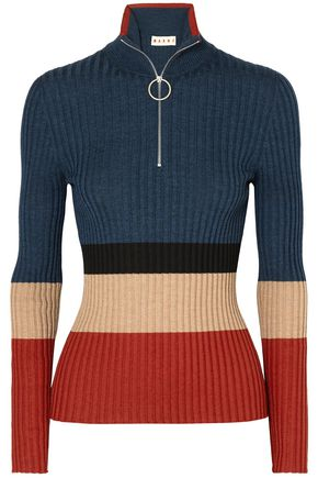 MARNI Color-block ribbed wool and silk-blend sweater