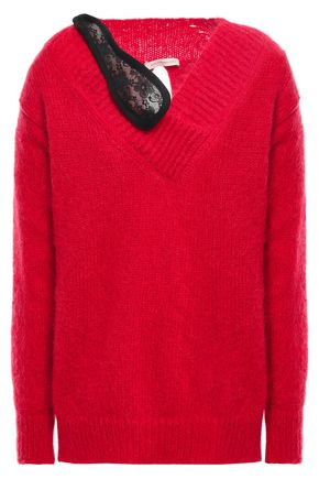 CHRISTOPHER KANE Split-back lace-trimmed mohair-blend sweater
