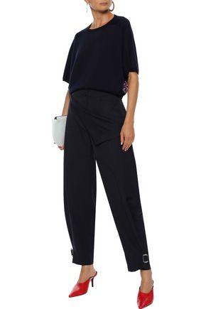 Derek Lam Sweaters DEREK LAM WOMAN FLORAL-PRINT CREPE-PANELED CASHMERE AND SILK-BLEND SWEATER NAVY