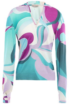 EMILIO PUCCI Printed silk and cashmere-blend hoodie