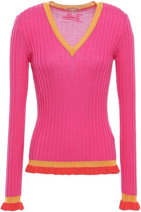 EMILIO PUCCI Ruffle-trimmed ribbed wool sweater