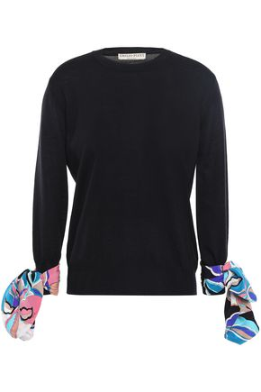 EMILIO PUCCI Printed silk-trimmed wool sweater