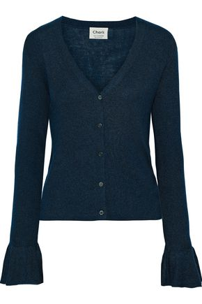 CHARLI Senna fluted silk and cashmere-blend cardigan